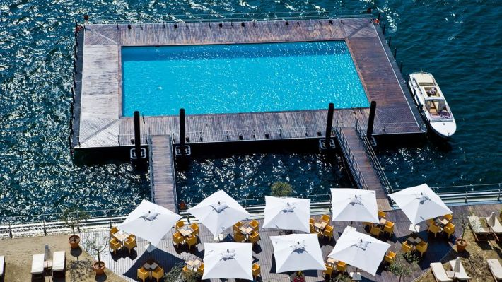 Floating pool at Lake Como, Lombardy